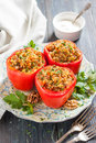 Peppers stuffed with quinoa and walnuts. Vegetarian dish Royalty Free Stock Photo
