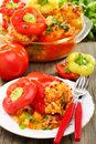 Peppers stuffed with vegetables and ripe tomatoes Royalty Free Stock Photos