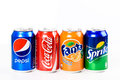 Pepsi coca cola sprite and fanta soda drinks bucharest romania january are the most famous carbonated soft sold in stores Stock Photography