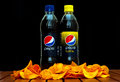 Pepsi cola zagreb croatia january plastic bottle of soft drink and twist by pepsico company on black background product shot Stock Photography