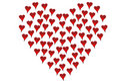 Pequeños corazones formados como corazón grande Foto de archivo
