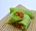 Peranakan Nonya Pandan Pancakes with Coconut Flake Stock Photos