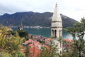 Perast montenegro the town of on the bay of kotor Stock Photography