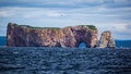 Perce rock gaspe peninsula quebec canada is one of the world s largest natural arches located in water Stock Photography