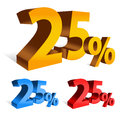 Percent bold d vector letters in color variations orange blue red Royalty Free Stock Images
