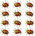Percent comic labels vector illustration of some Royalty Free Stock Images