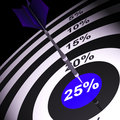 Percent on dartboard shows bonus and promotions Stock Photography