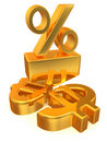 Percent on dollar Royalty Free Stock Photo