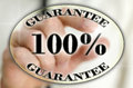 Percent guarantee icon choosing on virtual screen Royalty Free Stock Image