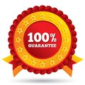 Percent guaranteed red label with ribbons customer satisfaction stars and warranty badge isolated on white Stock Photography