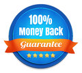 Percent money back guarantee blue badge with orange ribbon Royalty Free Stock Photography