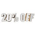 20 percent off 3d letters on white background