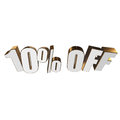 10 percent off 3d letters on white background