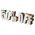 50 percent off 3d letters on white background