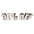 90 percent off 3d letters on white background