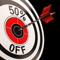 Percent off shows percentage reduction on price showing special offer Royalty Free Stock Photo