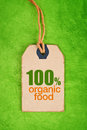 100 Percent Organic Food on Price Label Tag Royalty Free Stock Photo