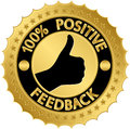 Percent positive feedback golden label vector illustration Stock Photos