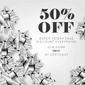 50 percent price off advertising flyer and coupon.