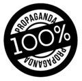 100 percent propaganda stamp on white