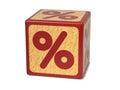Percent Sign - Childrens Alphabet Block. Royalty Free Stock Photo