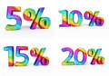 Percent sign colorful d render and clipping path Royalty Free Stock Photography