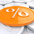 Percentage coin shows interest earn or owed showing Stock Photography