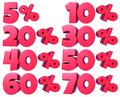Percentage numbers in red for discount sales, for banners and showcases, for web and print, with transparent png file attached.