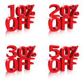 Percentage off discounts tags banners Royalty Free Stock Photos