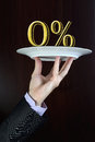 Percentage sign business man hand holds on a plate zero Royalty Free Stock Photography