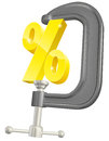 Percentage sign in clamp concept conceptual illustration of a a c or g being squeezed by high interest rates or keeping down rates Stock Image