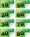 Percentage stickers of labels wiht Stock Image