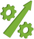 Percentage symbol gears with arrow as Stock Photography