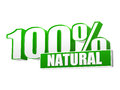 Percentages natural in d letters and block text green white eco bio concept Royalty Free Stock Photos