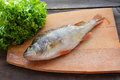 Perch with lettuce raw fish on wooden background Stock Photo