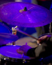 Percussion musical instruments drummer plays udarnіh during concerts Stock Photos
