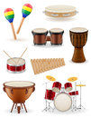 Percussion musical instruments set icons stock vector illustrati
