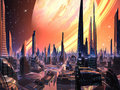 Perfect Alien City with Ring Planet Stock Images