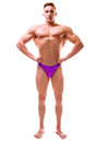 Perfect athletic body man with viewed from the front lateral spread Royalty Free Stock Photography