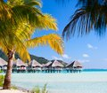 Perfect beach on Bora Bora Stock Photo