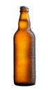 Perfect beer bottle on white background wet Royalty Free Stock Photography