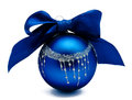 Perfect blue christmas ball with ribbon isolated Royalty Free Stock Photo