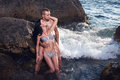 Perfect bodies couple in water Royalty Free Stock Photo