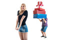 Perfect couple finished there date with shopping blond girl is super happy and guy is holding all they bought Stock Photo