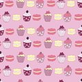 Title Vector Pink Garden Tea Party Cake Seamless Pattern Background.