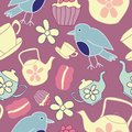 Vector Dark Pink Garden Tea Party Seamless Pattern Background.