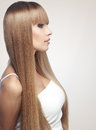 Perfect hair portrait of beautiful girl with long shiny blond studio shot Stock Images
