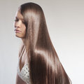 Perfect hair portrait of young beautiful woman with Royalty Free Stock Photos