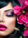 Perfect holiday makeup beauty brunette model girl Stock Photo