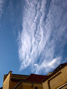 Perfect interesting clouds formation soft cumulus over blue summer sky Stock Photography